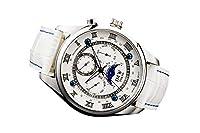 【JMW TOKYO】ホワイト&シルバー上級「ムーンフェイズ 」本革ベルトローマ数字インデックス100m防水タキメーター腕時計【世界限定300本】