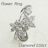 [エテリーユ] ダイヤモンド ホワイトゴールド K18 フラワー 花 カーブ 0.50ct リング 指輪 レディース 10.5号