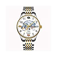 クリスマスギフト時計メンズファッション日本のクォーツデイトステンレススチールブレスレットゴールドウォッチアテンティブシャムキャットウォッチ