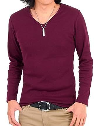 (トップイズム) TopIsm 【カラー8色】フライス無地VネックロングTシャツ長袖Tシャツ M 2-ワイン
