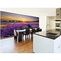 Ansyny カスタム自然壁画、ラベンダー畑に沈む夕日、リビングルームの寝室のテレビの背景エンボス壁紙のための3D写真の壁紙-420X280cm
