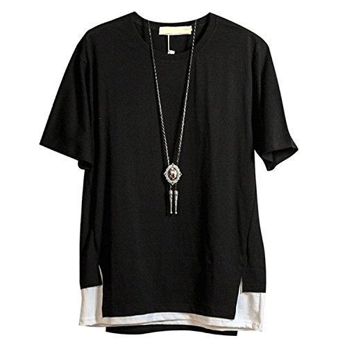 d4a27ff9caf0cb Hisitosa Tシャツ 半袖 メンズ カットソー 無地 ネックレス付き 薄手 涼しいゆったり かっこいい カジュアル ファションの