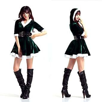 クリスマス コスプレ コスチューム 衣装 サンタ コスチューム レディース コスプレ クリスマスサンタ サンタクロース 可愛い 3点セット リボンクリップ付 緑