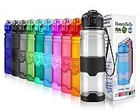 HoneyHolly ボトル 水筒 スポーツウォーターボトル - 400ml-1リットル、BPAフリー 直飲み 漏れ防止 プラスチック水筒 アウトドアボトル 子供 女の子 自転車用 登山用 ジム水筒 ヨガ用 登校用 旅行など( 光沢グレー)