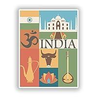 2 x 10cm インド - ノートPCやタブレット用ビニールステッカー #10114