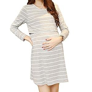 (マーシェル) Marshel マタニティ ワンピース チュニック 長袖 授乳口付き 産前 産後 長く使える 妊婦服 グレー M
