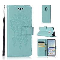 あなたの携帯電話を保護する ウィンドチャイムフクロウエンボスパターンギャラクシーS9用ホルダー&カードスロット&ウォレット付き水平フリップレザーケース (色 : 緑)