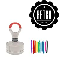 Retro Knockout Round Badge Style Pre-Inked Stamp, Green Ink Included