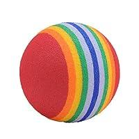 犬のおもちゃボールカラーラバーかわいいボール犬のおもちゃボールボーカルモルレインボーボールペットカラフルなベルボール - 多色M