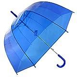 Kung Fu Smith 透明傘 レディース 軽量 おしゃれ こども ドーム型 ビニール傘 自動オープン 雨傘 バブルアンブレラ 長傘 バードケージ ジャンプ傘 8本骨雨傘 Bubble Umbrella (ブルー青色)