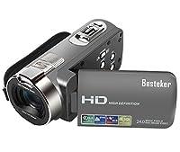 ビデオカメラ Besteker ポータブルビデオカメラ 2400万画素 HD1080P 16倍デジタルズーム ビデオカムコーダー 2.7インチ液晶ディスプレイ 270度回転スクリーン SDカード(最大32GB) 日本語説明書&1年間の保証付き (がんグレー)