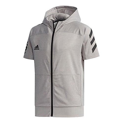 adidas(アディダス)メンズ 5T半袖フードフルジップスウェット 野球 トレーニングウェア グレー ETX96 CX2217 M