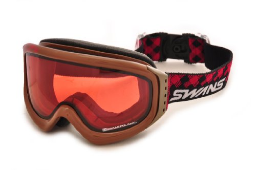 SWANS(スワンズ)大人用 偏光ピンクダブルレンズ スキーゴーグル 透過率33% INDY-PDH BRブラウン F