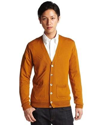 12-gauge Wool V-neck Cardigan Sweater 1228-106-0144: Mustard