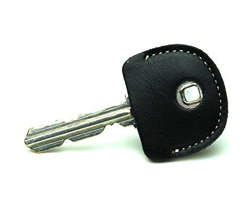 レザー キーカバー ブラック 牛革  キーキャップ 鍵の識別 鍵の番号 NO. 隠しに