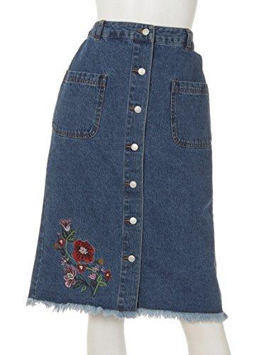 ANAP(アナップ)【chille anap】裾刺繍入り前ボタンスカート L.BL F