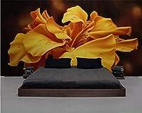 Gyqsouga ヨーロッパレトロ手描き花テレビソファ背景壁紙絵画家の装飾リビングルームの寝室3d壁紙-260X180CM