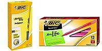 BIC ブライト ライナー グリップ ハイライター、チゼルチップ、イエロー、12本 BIC ラウンド STIC Xtra Life ボールペン ミディアムポイント (1.0mm) 赤、12本