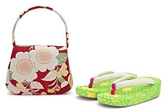 草履バッグセット 七五三向け ブランド 乙葉 赤 レッド 白 黄緑 黄 桜 星 ハート 7歳 七歳