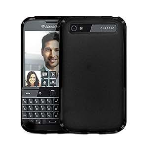 【Fitwhiny】BlackBerry Classic Q20 ケース カバー【全2色】 スタイリッシュ TPU 防指紋 指紋がつかない 背面マットタイプ さらさら質感 シリコンハードケース カバー ブラックベリー クラッシック マットフロスト Black Berry (ブラック) 209-1