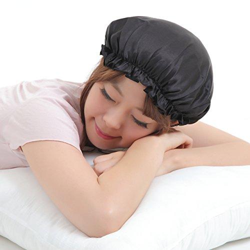 シルク ナイトキャップ 就寝用 女性用 絹 100% オーガニック 枝毛 切れ毛 抜け毛防止 ねぐせ防止 ロングヘア 傷んだ髪