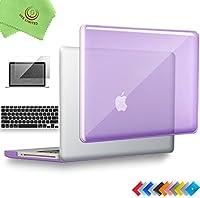 ueswill 3in1光沢クリスタルクリアSee Throughハードシェルケースとシリコンキーボードカバーfor MacBook Pro +マイクロファイバークリーニングクロス MacBook Pro 15'' (Non-Retina) パープル UES04C15P3-06