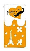 スマホケース 手帳型 iphone 6 ケース かわいい おしゃれ ハート柄 パリ デザイン 柄 0093-D. Paris背景オレンジ アイフォン 6 ケース 手帳型ケース [iPhone6] アイフォン シックス ベルトなし スマホゴ