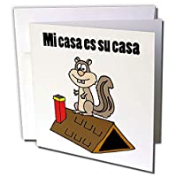 3dRose gc_243534_1 6 x 6インチ「屋根の上の面白いリスは、Mi Casa ES Su Casaです」グリーティングカード(6枚パック)