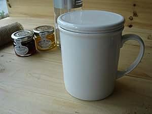 お茶マグカップ フタツキ茶漉し付 白い食器 便利 紅茶 ハーブティー 中国茶 ウーロン茶