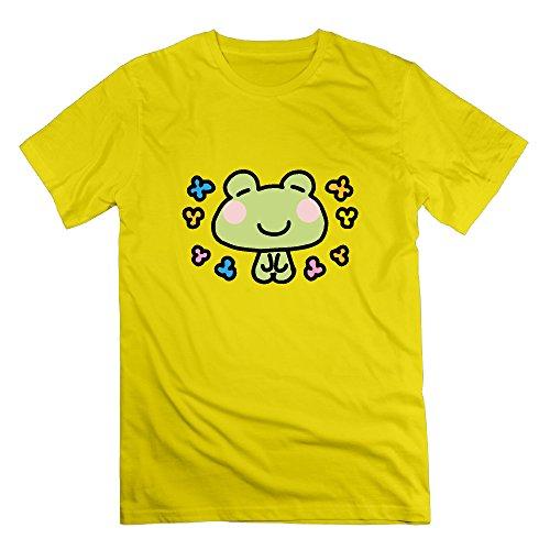 Typhoon KAORI メンズ半袖Tシャツ カエル わいわい ハッピーパーティ 学園祭 祝い 快適 可愛い蛙 花びら カジュアル創意 オリジナルカットソー カラー展開
