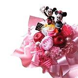 クリスマスプレゼント ディズニー ミッキー ミニー フラワーギフト♪ ミッキー&ミニーのプリザーブドフラワー 【ラテ レインボーローズ ピック】 ケース付き