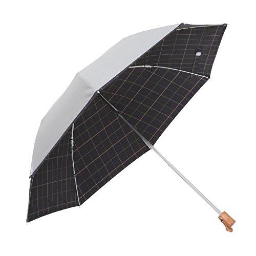 リーベン 日傘 晴雨兼用 折りたたみ シルバー/先染チェック <ひんやり傘> 【LIEBEN-0561】 紫外線遮蔽 UPF50+ UVカット率99%以上 遮光率99%以上 遮熱効果 (濃紺)