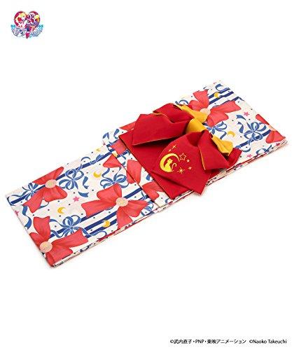 浴衣2点セット 美少女戦士セーラームーン 京都丸紅 作り帯 白系 オフホワイト 赤 リボン柄 セーラームーン 月野うさぎ モダン Sailor Moon 夏祭り 浴衣セット レディース フリーサイズ