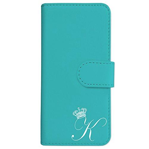 sslink F-03K らくらくスマートフォン me 手帳型 スマホ ケース クラウン イニシャル 「K」 白文字 (ブルー) アルファベット ロゴ エンブレム ダイアリータイプ 横開き カード収納 フリップ カバー スマートフォン