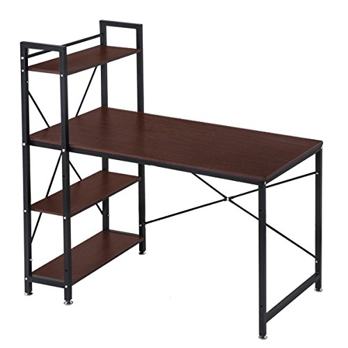(OSJ)収納ラック付デスク(幅120) 机 パソコンデスク オフィスデスク テーブル 木製天板(MS)(ダークブラウン)