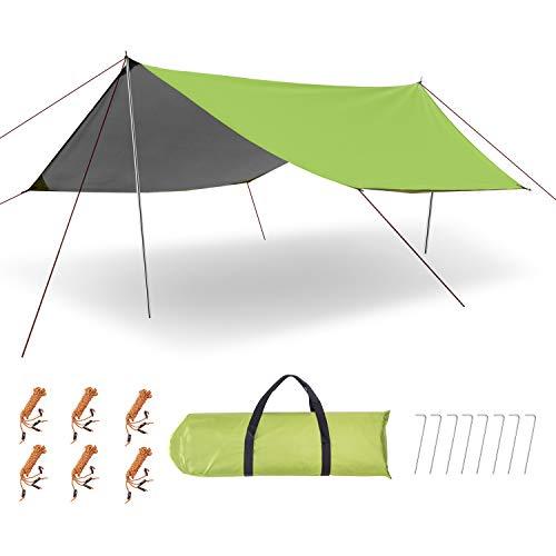 ESNBIA 防水 タープ ヘキサ キャノピー テント 軽量 日除け ポール付き サンシェルター ポータブル 天幕 シェード アウトドア キャンプ 6-8人用 450 x 300cm 収納ケース付き
