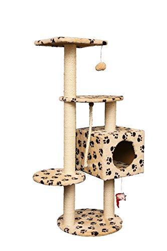 キャットタワー 据え置き 110cm 肉球柄 猫タワー