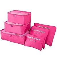 MOCOFO アレンジケース 収納バッグ・収納ケース トラベルポーチ 6セット 軽量 大容量 旅行・出張・引越し・整理用 カラフル バラ色