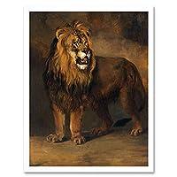 Van Os Lion From Louis Bonaparte 1808 Painting Art Print Framed Poster Wall Decor 12x16 inch ライオンからルイペインティングポスター壁デコ