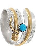 新宿銀の蔵 ナバホ族 ゴールドフィルド フェザー シルバー 925 リング 20号 (フリーサイズ) メンズ 指輪 ハンドメイド
