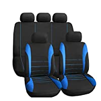 HZLX カーシートカバー フル9セットフロント&リアユニバーサル耐性カバーセットオートインテリアアクセサリーユニバーサルチャイルドシートプロテクター通気性のあるバンシートカバー,Blue