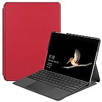 Mrstar の Microsoft Surface Go 純正 レザー 財布 シェル カバー, フリップ 立つ, カード スロット, スタイリッシュ, Red