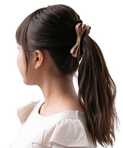 ボナバンチュール(Bonaventure) ミルフィーユ リボン バナナクリップ グログラン 小さめ レディース ヘアアクセサリー 人気 ブランド ヘアクリップ 髪留め ライトブラウン