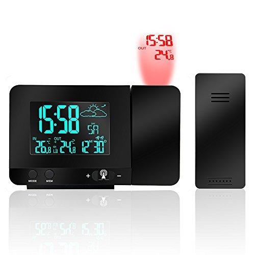 投影時計, Protmex PT3531B プロジェクター時計 投影アラームクロック 〜と天気予報, ダブル目覚まし時計, 室内温度, USB電話の充電, マルチカラースクリーンディスプレイ 機能
