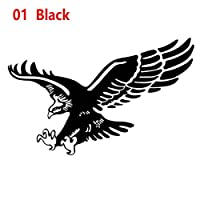 Bostar 1個リフレクティブ・イーグルデカールビニールCarAutoドアフードカバーステッカー外観#280678:ブラック、L