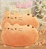 【ELEEJE】 お部屋 の インテリア にも 最適 フワフワ 柔らか 癒し の かわいい ネコ クッション 枕 にも ( オレンジ の 2個 セット )