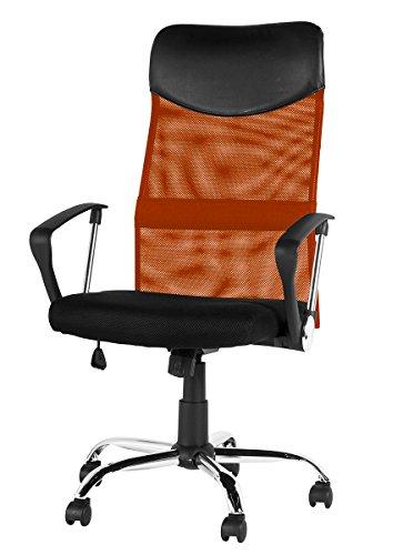 (OSJ)メッシュオフィスチェア メッシュチェア オフィスチェア OAチェア 上下左右可動式 ハイバック (MY)(オレンジ)