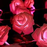 ligangamイルミネーションLED ライトストリングライト 20球 2m バラ電飾 雰囲気作り 屋内屋外 ホームパーティー/バー /レストラン/祝日/結婚式/パーティデコレーション/庭園/ガーデン 装飾 クリスマス電池必要(2m-20, ピンク)