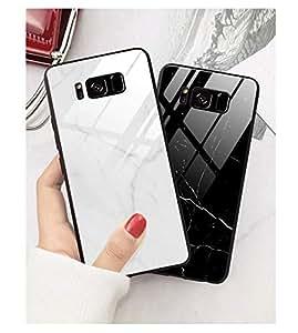 大理石柄 Galaxy S9 ケース カバー ガラス 女性人気 お洒落 可愛い ギャラクシーS9 ガラスケース 背面ガラス 薄型 スリム (GalaxyS9, 白)