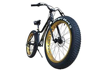 TRINX(トリンクス) ビーチクルーザー 【ファットバイク】迫力の極太タイヤ Wディスクブレーキ 軽量アルミフレーム Shimano7段変速 26インチ26x4.1 スノーバイク FATBIKE T106 ブラック/ゴールド T106 ブラック/ゴールド 26インチ